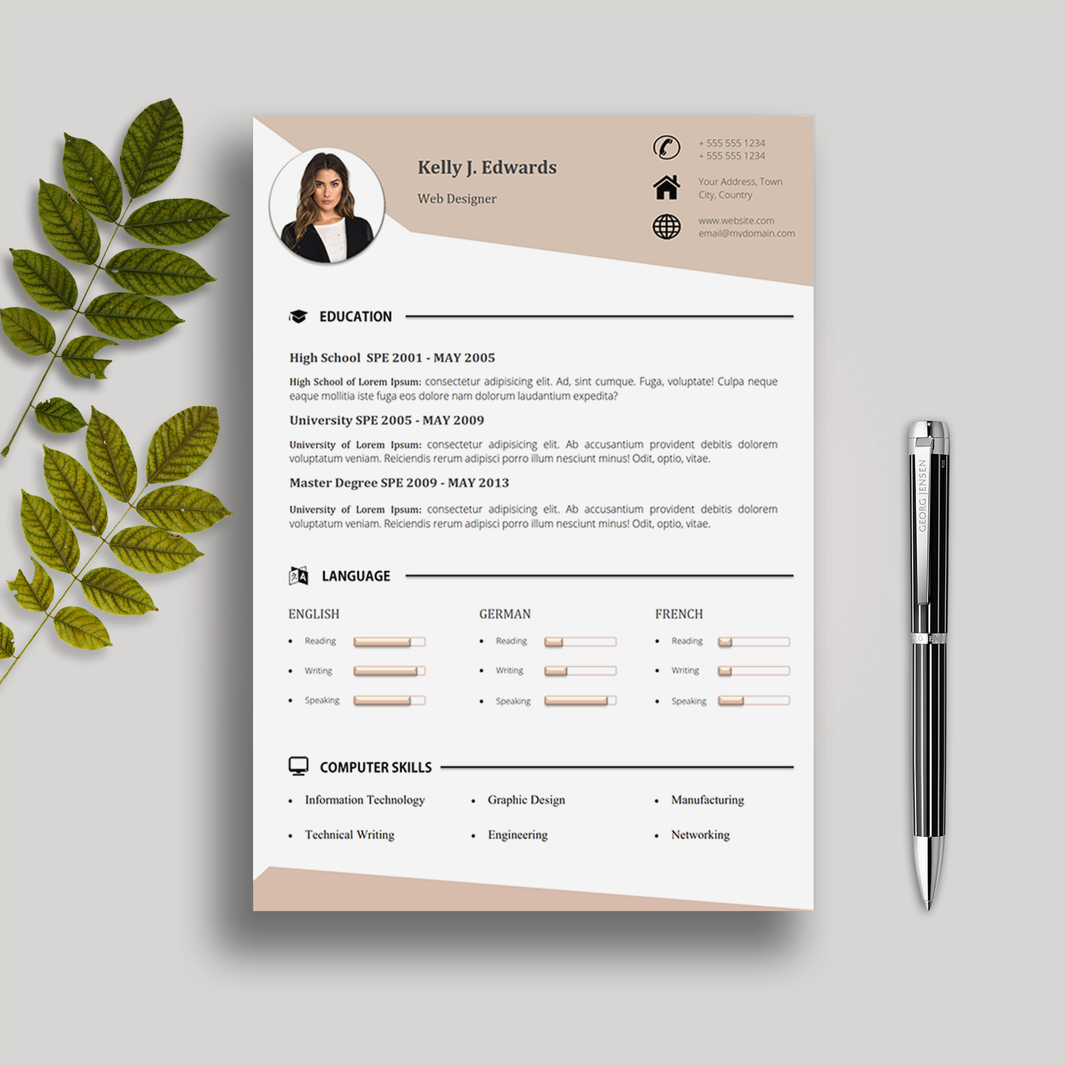 5 Pages Cv Template With Cover Letter References And Portfolio Kelly J Edwards Creative Resume Templates