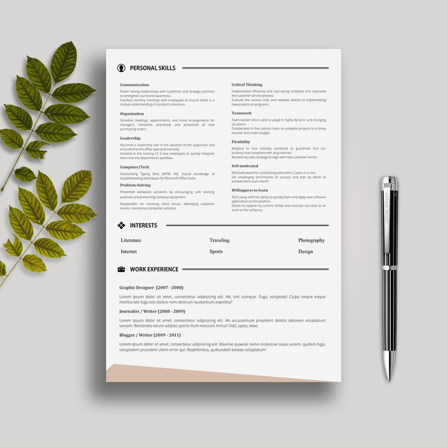 5 Pages Cv Template With Cover Letter References And Portfolio
